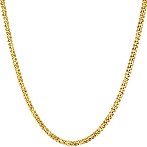 Lifetime Jewelry Gold Necklace for Women & Men [ 2.2mm Curb Link Chain ] 20X More 24k Real Plating Than Other Dainty Pendant Necklaces - Thin Yet Strong - Lifetime Replacement Guarantee (16.0)