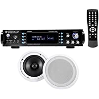 Rockville RPA60BT Home Theater Bluetooth Receiver + (2) 8 in-Ceiling Speakers