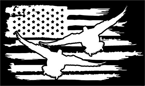Firehouse Graphics American Flag Duck Drake Hunting Decoy Teal Vinyl die Cut Sticker Decal Pledge of Allegiance (3