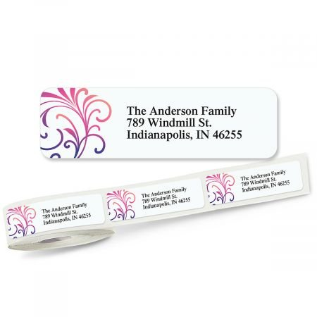 3/4 Clear Address Labels - Colorful Swirls Rolled Return Address Labels Roll of 500 - 2 1/2