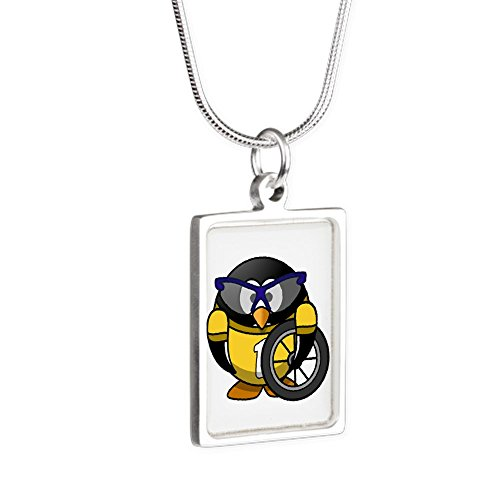 Silver Portrait Necklace Little Round Penguin - Cyclist in Yellow Jersey
