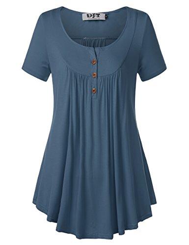 T Tops Femme Shirt V Chemisier Blouse Courte Boutons Lache DJT Col Bleu Manche zxCSwdSqP