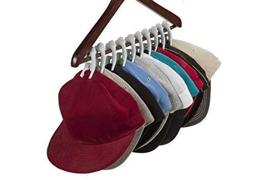 Caiman Hat Clips: The Hat Organizer that Fits in Your Closet and Protects Your Hats Better than a Hat Rack Using Clips with a Safe, Unique Grip (10 pack) (White)