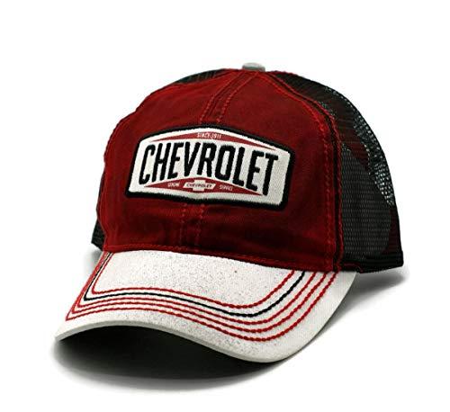 9a935b4f004 Hat - Chevrolet Dirty Wash Mesh Adjustable Ball Cap Red   Black