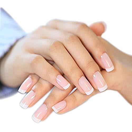 YUNAI 24 Pcs/set French Nails Nail Art Pre-design Acrylic Fake Nail Classical Full Cover Short White Manicure ()