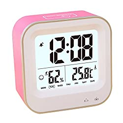 Alarm Clock, PYRUS Time/Date/Temperature Display Rechargeable Travel Alarm Clock for Heavy Sleepers(Random Color)