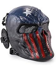 Wwman Tactisch Volledige Gezicht Airsoft Schedel Masker, voor CS Cosplay Halloween, met Oor Bescherming