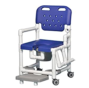 Elite Shower Chair Commode with Footrest and Left Drop Arm ELT817 P FRLDA (Blue)