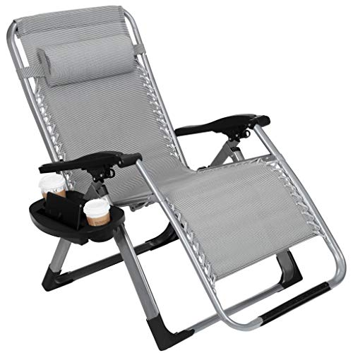 "22.8"" Oversized Width Seat 350LBS Capacity Zero Gravity Outdoor Lounge Chair w/Cup Holder with Mobile Device Slot Adjustable Folding Patio Reclining Chair W/Snack Tray by Artist Hand"