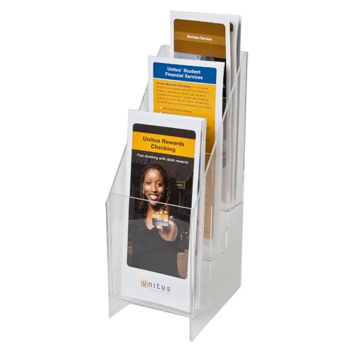 Clear-Ad - MPF-0409-3 - Premium Acrylic 3 Tier Brochure Holder 4x9 (Pack of 2)