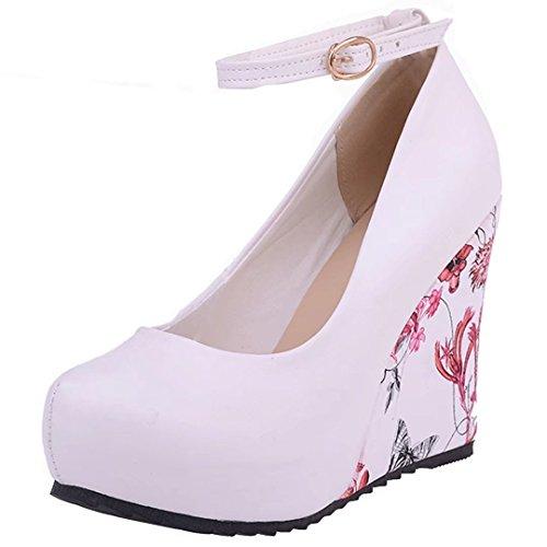 AIYOUMEI Damen Knöchelriemchen Keilabsatz Pumps mit Plateau und 10cm Absatz Bequem Modern High Heels Schuhe Weiß