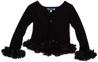 Blue Pearl Big Girls' Ruffle Sweater Cardigan, Black, 10