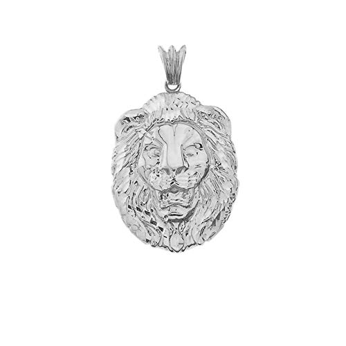 (Bold Sterling Silver Sparkle-Cut Lion Statement Pendant (Medium))