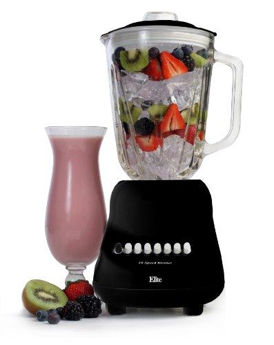 Blade Care Plus Jar - Elite Gourmet EBL-2000GB Maxi-Matic 10-Speed Blender with 48-Ounce Glass Jar, 450-Watt, Black
