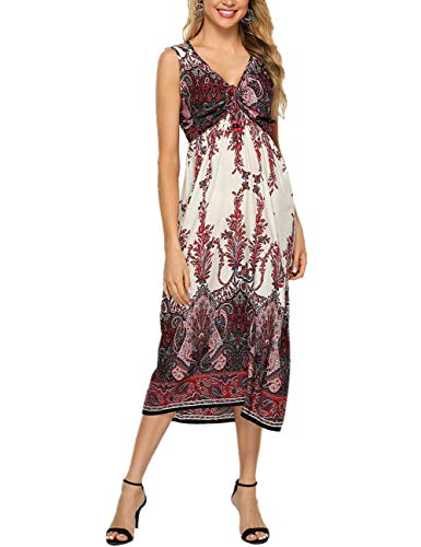 YOUCOO Women's Ethnic Style Sleeveless Floral Print Tank Dress Geometric Party Bohemian Long Maxi Dresses