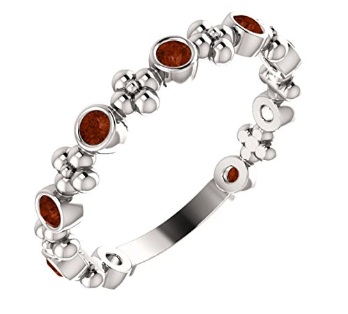 Genuine Mozambique Garnet Beaded Ring , Rhodium-Plated Sterling Silver, Size 6.75 ()