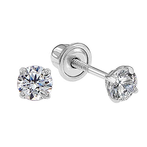 14k White Gold Solitaire Round Cubic Zirconia CZ Stud Earrings in Secure Screw-backs (3mm) 14k Gold Ribbon Earrings