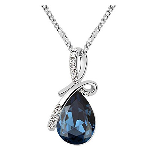 Sojewe Silver tone Bow Teardrop Pendant Necklace Navy Blue Swarovski Elements Crystal 18