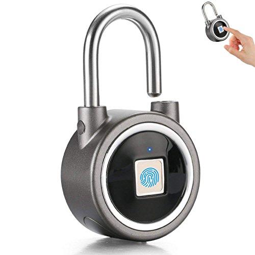 Fingerprint Padlock - Bluetooth Keyless Biometric Lock for Gym, Locker, Outdoor Door, Backpack, Luggage Suitcase, Bike, Office, IP65 Waterproof, Support USB Charging (Gray)