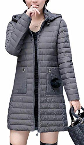 Hot Sale-UK Womens Long Sleeve Lightweight Hooded Long Down Puffer Jacket 1