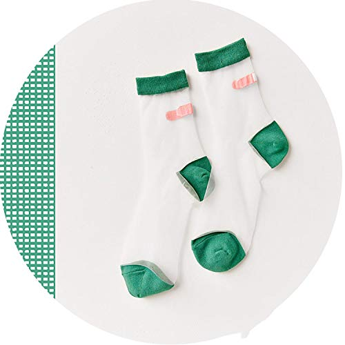 - Japanese Summer Women Transparent Socks Harajuku Stretch Band Aid Ok Crystal Sock Japan Glass Silk Art Socks Calcetines Mujer,Green,Euro 35 To 39