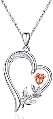 NINAMAID Womens Flower Rose Necklace 925 Sterling Silver Love Heart Pendant Necklace Jewelry for Womens Girls