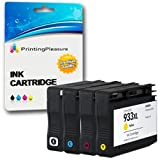 Printing Pleasure 4 (FULL SET) Compatible Ink Cartridges Replacement for HP 932XL HP 933XL for HP Officejet 6100 6600 6700 7110 7600 7610 7612 - Black/Cyan/Magenta/Yellow, High Capacity