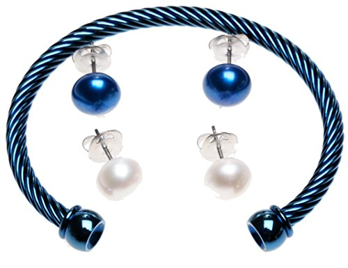 Honora Interchangeable Cultured Pearl Earring and Bracelet Set indigo blue size large