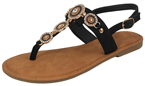 Thong Jewel (Cambridge Select Women's T-Strap Thong Slingback Crystal Rhinestone Flat Sandal (6.5 B(M) US, Black))