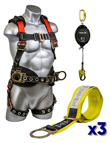 Guardian Combo Kit 11173 M-L Harness w/ 20ft Web Retractable and 3-Foot Premiun Cross-Arm Strap (3 Combos) ()