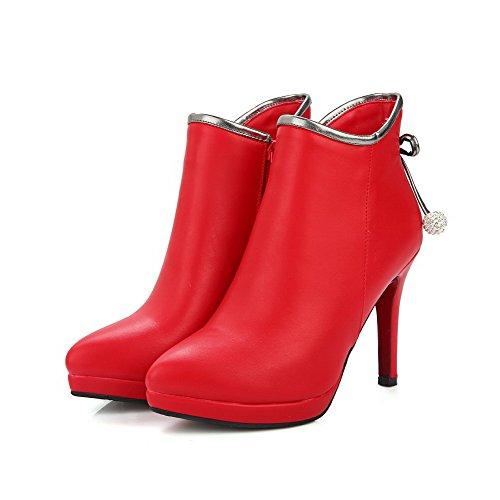 AllhqFashion Damen Hoher Absatz Niedrig-Spitze Rein Ziehen auf Stiefel, Rot, 41