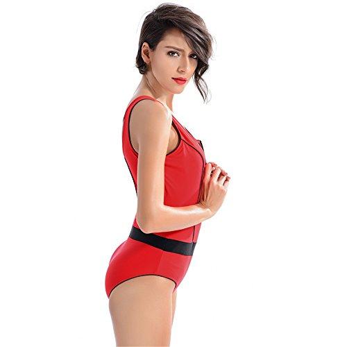 COCO clothing Las Mujeres Cremallera Rojo DeportivosMonokini Patchwork Bañador de Una Pieza Escotado por Detrás Traje de Baño Playa Swimsuit