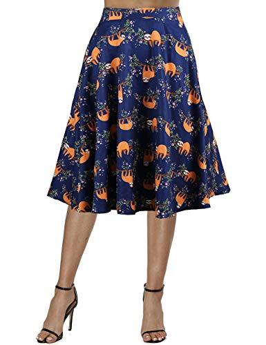 Fancyqube Women's Pleated A-line Vintage Skirts Retro Floral Print Midi Skirt (L, Multicolor-Sloth)