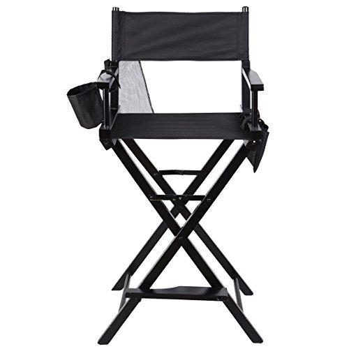 New Professional Makeup Artist Directors Chair Wood Light Weight Foldable Black