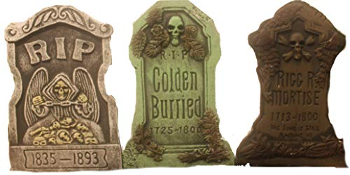 Bauer Pacific Set of 3 Realistic 21'' Asst. Halloween Foam Tombstones, Props, Graveyards, Haunted House, Yard Decorations and Accessories by Bauer Pacific