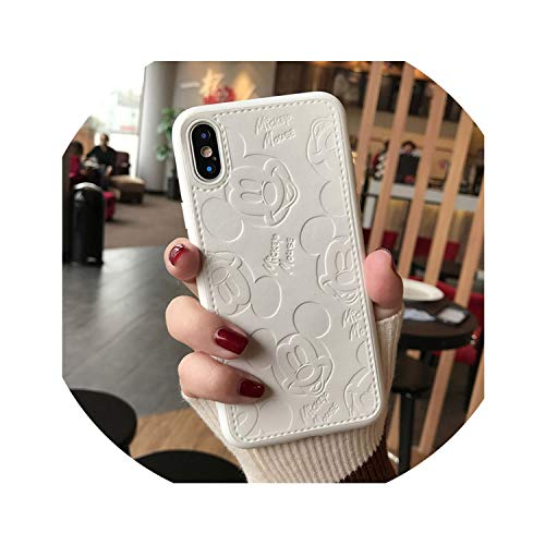 Leather Phone Case for iPhone 7 Mickey Minnie Mouse Soft TPU Silicone Cover for iPhone 6s 7 8 Plus XS MAX XR Coque,White,6 Plus 6s Plus