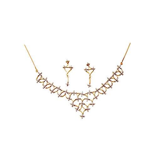 Libertini ensemble de diamant argent 925 plaque or Jaune serti de Diamant
