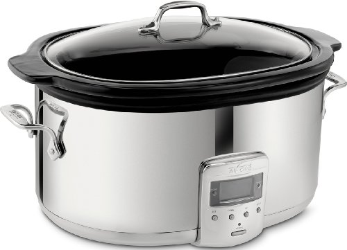 All-Clad SD700450 Programmable Oval-Shaped Slow Cooker with Black Ceramic Insert and Glass Lid, 6.5-Quart, Silver (Crock Pot Slow Cooker Cuisinart)