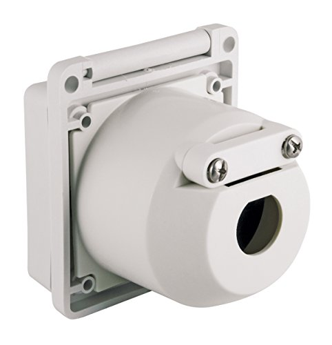 Marinco 30 Amp 125V Inlets,Square, White with Stainless Steel and Hole ()