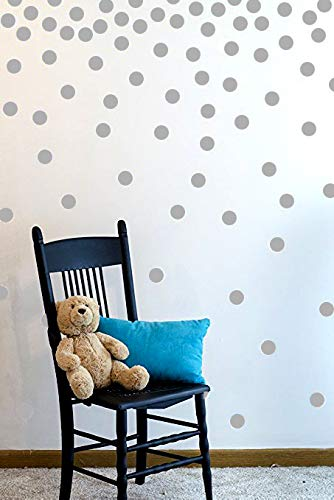 (Wall Decal Dots (200 Decals) | Easy to Peel Easy to Stick + Safe on Painted Walls | Removable Vinyl Polka Dot Decor | Round Sticker Large Paper Sheet Set for Nursery Room (Gray))