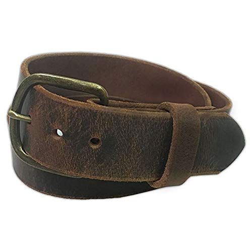 - Jean Belt, Brown Crazy Horse Water Buffalo Leather, 9 Ounce - Antique Buckle - Handmade in the USA! By Exos - Size: 46