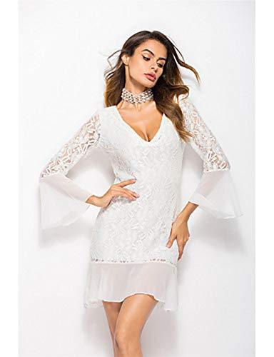 JIZHI M Cintura Festivos Otoño V Profunda Mujer Delgado En Escote Alta White Vestido Verano Mini Vaina xYZY5Srw