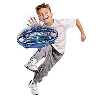 Motion Controlled UFO,Flying Ball Toys for Kids and Adults, Rechargeable Mini Quadcopter LED Indicator Infrared Induction Hand-Controlled Drones -Blue (Hover Star Motion Controlled UFO, Blue)