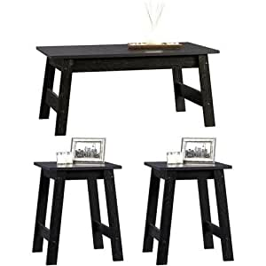 3 piece black wood coffee table and end for Living room furniture bundles