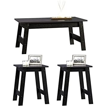 3 Piece Black Wood Coffee Table And End Tables Value Bundle This Modern