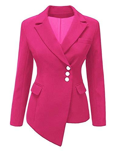 Moda marca Giacca Slim Autunno Monocromo di Fit Breasted Lunga Rose Mode Camicia Tailleur Da Donna Manica Rot Outwear offlce Irregular Di Bavero Giaccone Single RaqPnd