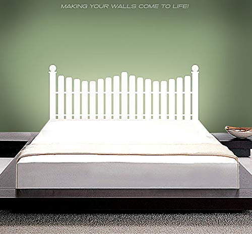 (kiyogoods White Picket Fence Bed headboard Wall Decals in Full Size/Twin Size/King Size/Queen Size Custom Vinyl Wall Stickers (Picket Fence, Full))