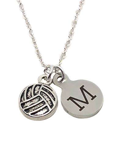 """Heart Projects Custom Volleyball Charm, Initial Charm, Silver Finished Necklace, 18"""" with 1"""" Extender, Player Mom Jewelry Gift"""