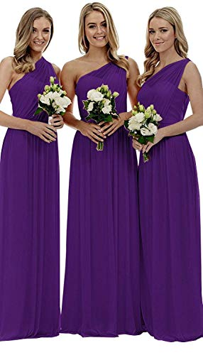 Ruched One Shoulder Gown - Women's One-Shoulder Ruched Chiffon Evening Dress Long Formal Prom Party Gown Size 6 Purple