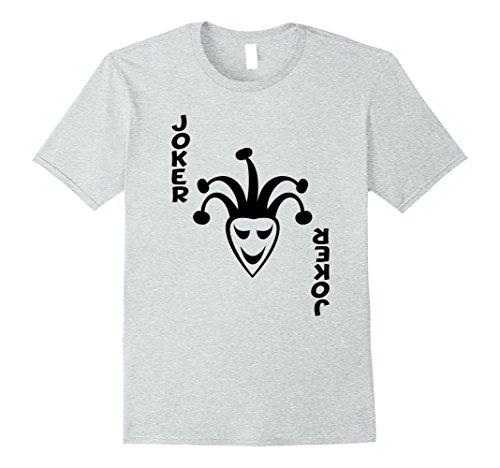 Mens Joker poker playing card halloween clown costume shirt Large Heather (The Joker's Wife Costume)